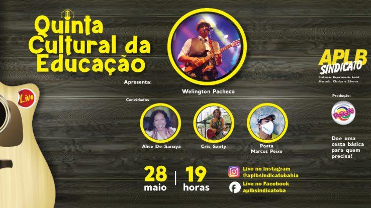 """LIVE """"QUINTA CULTURAL DA EDUCAÇÃO"""" BENEFICIARÁ INSTITUIÇÕES DE CARIDADE"""