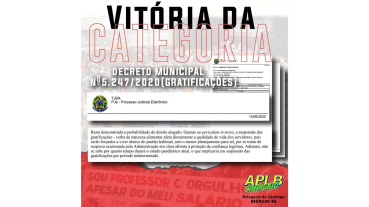 Vitória da categoria: após ação judicial movida pela APLB, TJBA obriga Prefeitura de Brumado a reaver gratificações dos professores municipais