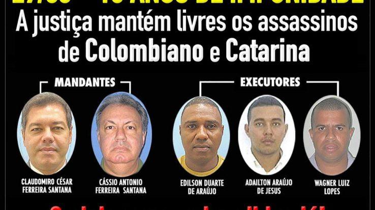 Assassinatos de Colombiano e Catarina – Uma década de impunidade