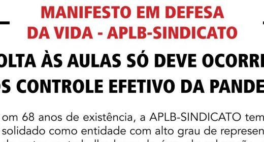 VOLTA ÀS AULAS SÓ DEVE OCORRER APÓS CONTROLE EFETIVO DA PANDEMIA – APLB publica manifesto pela vida no A Tarde desta terça (7)