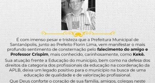 APLB LAMENTA MORTE DO PROFESSOR CRISPIM