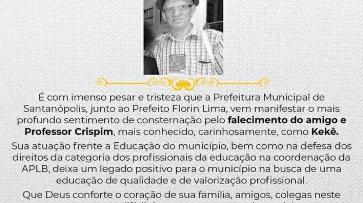APLB LAMENTA MORTE DO PROFESSOR CRISPIM