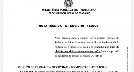 Ministério Público do Trabalho divulga Nota Técnica sobre trabalho virtual/home office de professores durante pandemia