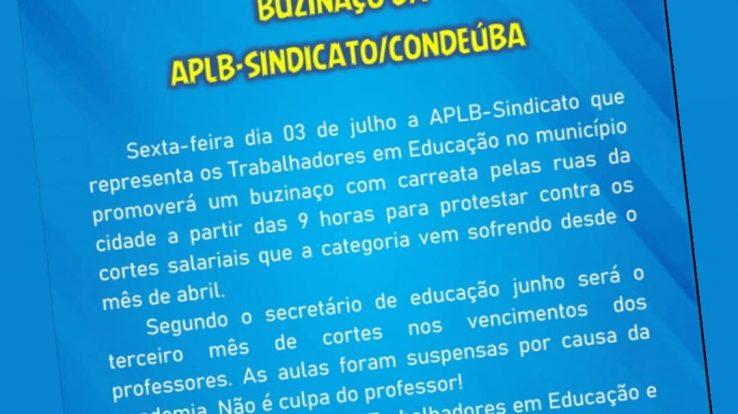 APLB-Condeúba promove buzinaço contra cortes salariais dos educadores
